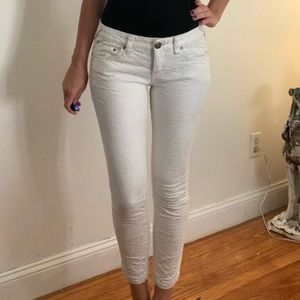 Free People White Textures Ankle Jeans Size 26